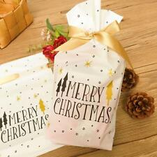 50/set Merry Christmas White Plastic Gift Candy Bags with Ribbon Drawstring