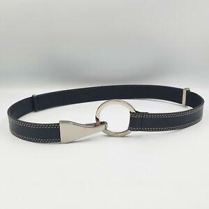 Via Spiga OSFM Adjustable Black Leather White Top-Stitched Clasp Buckle Belt