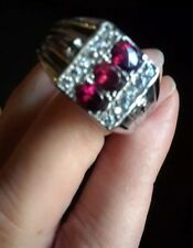 Mens Gemstone Ring ,sz 12, Orissa Rhodolite Garnet, 1.85 cts,Stainless Steel