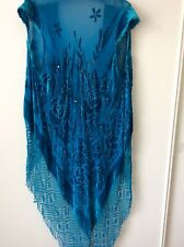 Antique Womens Cape Toppper Wrap Beaded Fringed Evening Turquoise Cover