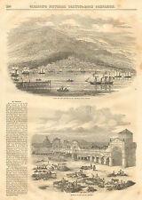 St. Thomas Island, West Indies, Market, City View, Vintage, 1852 Antique Print,
