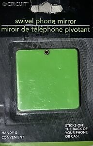 Swivel MIRROR for CELL PHONE~Self-Adhesive & Swivels for easy access~Green~NEW
