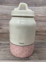 "Rae Dunn Pink Polka Dot "" TREAT "" Canister Jar/Container Dimpled Brand New!"