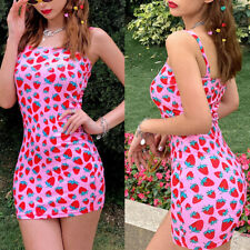 Sexy Women Strawberry Print Bodycon Mini Dress Spaghetti Strap Party Dress US