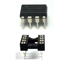 2PCS Texas Instruments RC4558 + Sockets Dual Operational Amplifier DIP-8 New IC