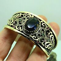 Turkish Handmade Jewelry 925 Sterling Silver Sapphire Stone Women Bangle