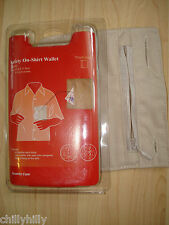 Safety 0n-Shirt Wallet Travel/Holiday Security Care Beige BNIP