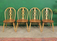 4 Ercol Dining Chairs, Light Elm, Kitchen, Fleur de Lys, Hoop Back, Blonde