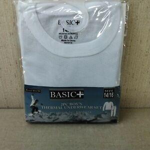 Boys Basic+ 2 Piece Thermal Underwear Set 14/16 White