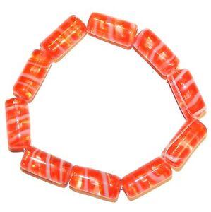 G1274 Red Orange & White Swirl 20mm Round Tube Lampwork Glass Beads 10pc