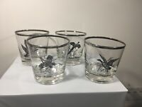 Set Of 4 Federal Glass Glasses Silver Rimmed Sportsman Canada Goose Grouse ...