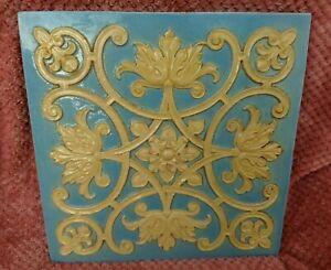 Art Nouveau floral relief 15 inch tile circa 1850's Burmantofts / Leeds fireclay