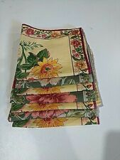 April Cornell cotton napkins  green and yellow floral  lot of 7