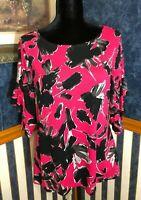 NWT Isaac Mizrahi IMNYC Pink Floral Top Blouse Print Size Medium Womens
