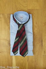 *CAMPI* ANCONA WEMBLEY WOOLLEN SPUN RED GREEN BLACK STRIPE SILK TIE