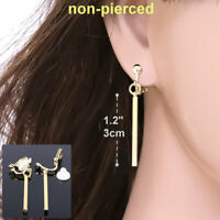 "#E122B Women Men NON-PIERCED CLIP ON EARRINGS Dangle 1.2"" Long Bar Square Drop"
