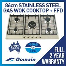 NEW 860mm STAINLESS STEEL GAS COOKTOP WITH 5 BURNERS