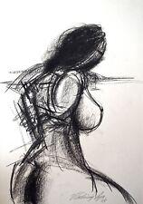 "Vladimir Cora - 11.75"" x 16.5"" Signed Original Charcoal Drawing Nude Female"