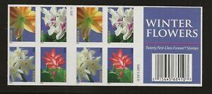 2014 Forever Winter Flowers full Booklet of 20 Scott #4865b, Mint NH