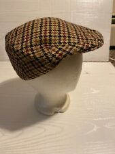 RARE Norman Peal Made in Scotland 100% Cashmere Plaid cabby Driving Hat 7-1/4