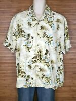 Tommy Bahama Beige Graphic 100% Silk Hawaiian Shirt Mens Size Large L