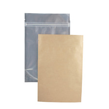 Kraft Mylar Barrier Bags Heat Seal Tear Notch Food Packaging Pouches Clear Front