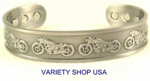 Motorcycle Themed Pure Antique Copper Magnetic Bangle Cuff Bracelet CM418AS