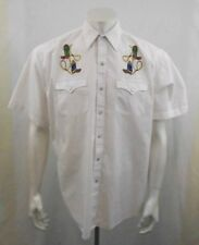 Blair Mens White Pearl Snap Short Sleeve Embroidered Western Cowboy Shirt Size L