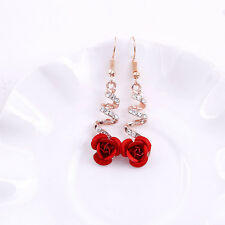 Fashion Women Crystal Red Rose Flower Gold Earrings Dangle Drop Wedding Jewelry
