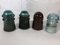 4 Vintage Insulators-Hemingray 9 & 12, 2 Unmarked
