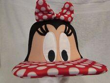 Disney Minnie Mouse Hat Cap Style Polka-Dot Bow & Brim Oversized New $24+