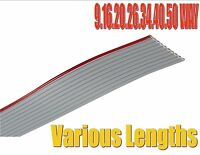 """0.05"""" PC IDC grey flat ribbon cable AWG28 1.27mm pitch 9,16,20,26,34,40,50 way"""