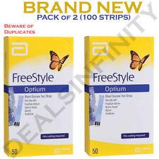 Abbott FreeStyle Optium Total 100 (2X50) Blood Glucose Test Strips | Long Expiry