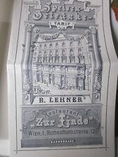Wien Archiv Edition 1116 Speise -Getränke Rarif des restaurants zur Linde 19. JH