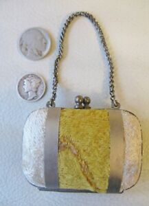 Antique Victorian French Bru Doll Silver Metal Yellow Gold Velvet Coin Purse