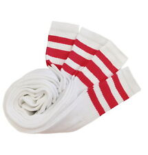 4 PAIRS SPORTS TUBE SOCKS COTTON RED STRIPES 22 INCHES LONG SOCKS COTTON