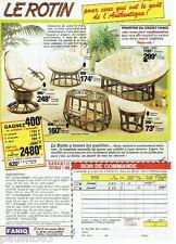 PUBLICITE ADVERTISING 116  1986   Faniq  les sièges fauteuil pouf en Rotin