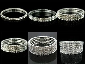 New Women Sexy Silver Diamante  Rhinestones Hand  Bracelet Multiple Rows UK