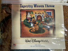 "Disney Tapestry Woven Throw Rug 60x50"" Disneyland Resort Mickey's Decor New"