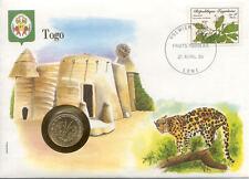 superbe enveloppe TOGO LOME LEOPARD pièce monnaie 10 FRS 1971 UNC NEW timbre