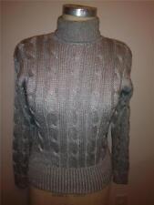 Vintage Liz Claiborne Petites Silver Gray Cable Knit Turtle Neck Sweater   S