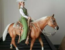 Breyer toy horse, with lady rider & western leather tack set ,traditional sized.