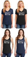 New Tom Brady Silver Glitter T-Shirt or Tank Top Patriots Jersey Tee Women's