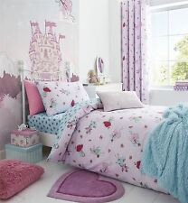 Fairies Flowers Spots Pink Blue Cotton Blend Single Duvet Cover & Fitted Sheet