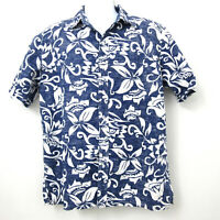 Blue Opihi Mens Large Aloha Hawaiian Casual Shirt Floral