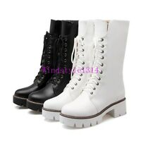 Casual Womens Mid-Calf Boots Lace Up Chunky Heel Knight Shoes Side Zip Round Toe