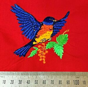 Vintage Embroidery Patch,  BLUE BIRD on Red Fabric, Suit Patchwork Craft Sewing