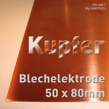 Kupfer-Anode / Elektrode / Blech (5 x 8 cm) für Kupferelektrolyt / Galvanik Cu
