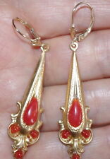 ANTIQUE 14K FLEUR DE LIS LEVER BACK W ELONGATED 14K GF ITALY RED CORAL DROPS BBB
