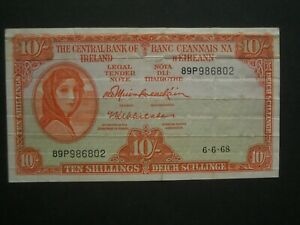 **Very Last Series** Lady Lavery* 1968 'GVF' * 10's ** Banknote**